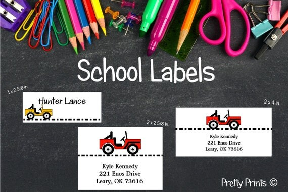 School Labels, Back to School, Jeep, Personalized Stickers, Personalized Labels, Car Labels, Tags, Boy Labels