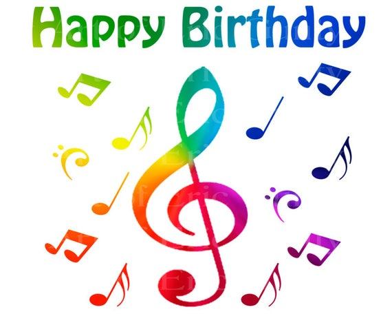 Band Music Notes Rainbow Happy Birthday - Edible Cake and Cupcake Topper For Birthday's and Parties! - D22721