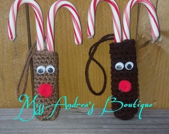 Reindeer Candy Cane Holder, Crochet Candy Cane Holder, Ornament