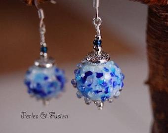 Glass earrings * sea urchins ice * white/blue - glass Lampwork