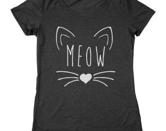 Meow Heart Cute Kitten Cat Outfit Tee Top Women's Tri-Blend T-Shirt DT1573