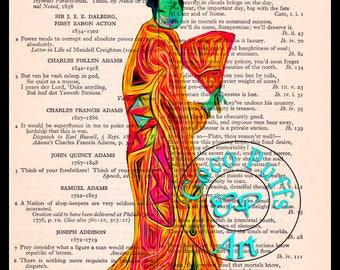 Orange Kitsch Geisha Art Beautifully Upcycled Vintage Dictionary Page Book Art Print,Oriental Art Print