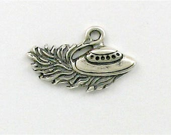 Sterling Silver UFO or Flying Saucer Charm