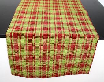 Christmas Plaid Burlap Runner Red Apple Green 14X72inch (XMJ-R60R)