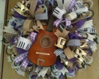 Deco Mesh Door wreath, Music Wreath, Wall wreath,