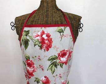 GORGEOUS Peony with lace apron, stitched 100% handmade, cotton