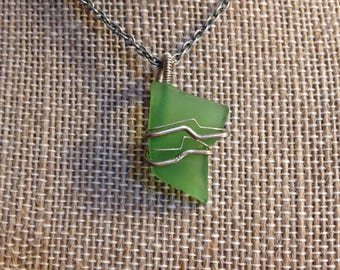 Sterling Silver Sea Glass Necklace Green