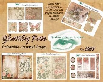 Ghostly Rose Digital Journal Pages DIGITAL DOWNLOAD ONLY!!!, Journal Kit, Glue Book, Flow Journal, Smash Book, Journal