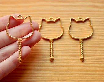 3 pc Cat Wand Open Bezel Charms (for Resin)