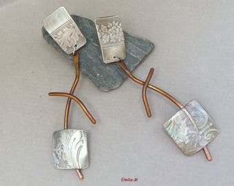 Rustic Sterling silver and copper earrings  - Artisan Jewelry by Emilia-m