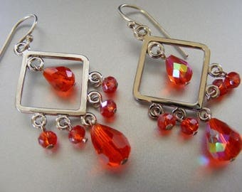 Silver and Red Diamond Shaped Chandelier Dangle Earrings