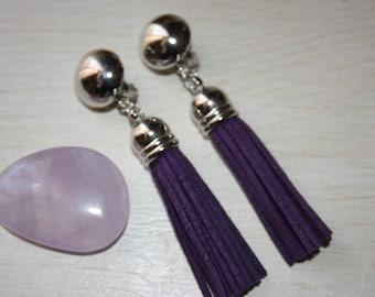 Purple tassel clip earrings