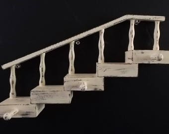 Small Wood Spindle Staircase 5 Shelves 3 Pegs Ivory Distressed Rustic Cottage