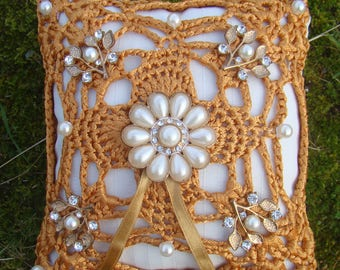 Gold Ribbon Yarn & pearl Ring Bearers Cushion