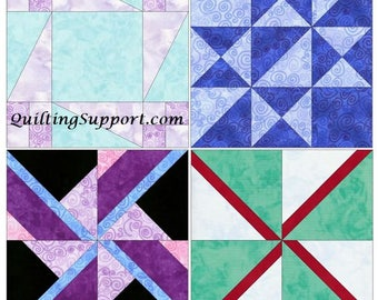 Spinning Set 1 - 15 Inch Block Set of 4 Template Quilting Block Patterns  PDF