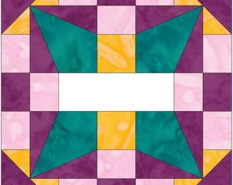Woven Squares 10 Inch Paper Piece Foundation Quilting Block Pattern PDF