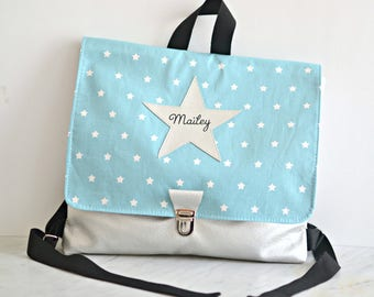 First baby satchel for kindergarten, kid backpack choice colour, silver star backpack, customizable first name, children's leisure briefcase
