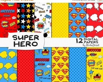 SUMMER SALE - 55% OFF Superhero Digital Papers, Superman Comics, Super Hero Stars Cartoons, Comic Book, Action Words, Scrapbooking for Perso