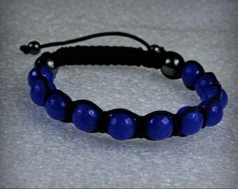 Beautiful handmade MEN Shamballa Bracelet with 10 mm Faceted Blue Sapphire Gemstone  beads , stone bracelet