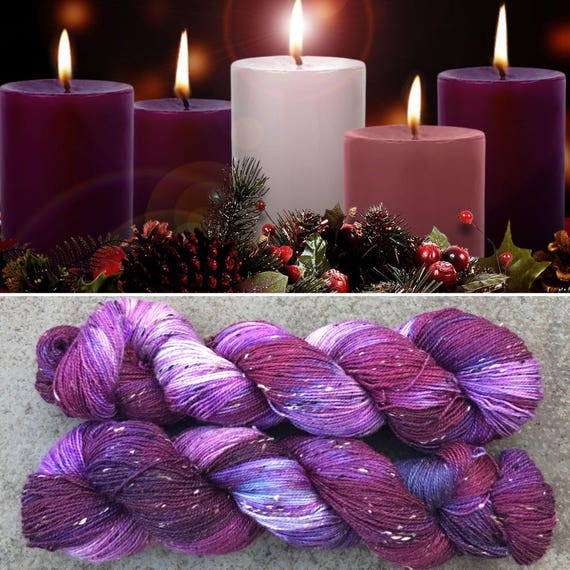 Advent Donegal Sock, purple merino yarn with neps