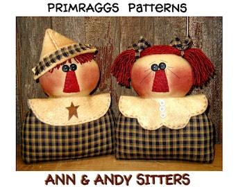 Prim Raggedy PATTERN Stump Dolls - Ann & Andy Sitters -  Primraggs - instant download