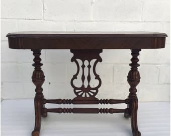 Antique Trestle table, Sofa table, Hallway table, Entry table, Antique wood carved Lyre table, Jacobean table , SHIPPING NOT INCLUDED