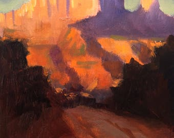 "Original Southwestern Oil Study Landscape, 7""x5"""