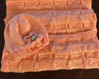 Hand Knitted Baby Afghan with Matching Hat