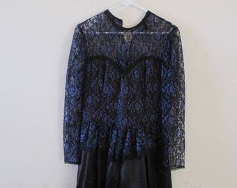 Gunne Sax- Vintage Dress - Jessica McClintock - Drop Waist  - Purple + Black Lace Midi Dress - Size 12 with attached crinoline. FREE SHIP!