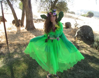 Fairy Costume - Wings - Head Wreath - Chiffon - Wonderful - Size 8 to 10 - Elastic - Forest & Lime Green - LOOK at our other Fairy Costumes!