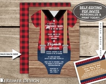 Little Man Baby Shower Invitation, Lumberjack, Onesie, Suspenders, Red, Black, Buffalo Plaid, Self-Editing PDF Invite, BONUS Book Card