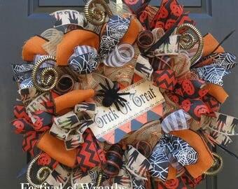 Halloween Deco Mesh Wreath - Halloween Front Door Wreath - Halloween Mesh Wreath - Trick or Treat Wreath - Halloween Door Wreath - Halloween