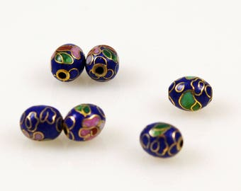 Cloisonne Cobalt Blue Oval Beads Chinese 9 x 7mm (12) Vintage
