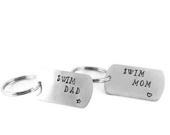 Swim Mom and Swim Dad Key Chain SET OF TWO