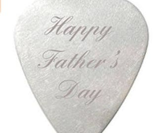 Happy Fathers Day Guitar Pick / Plectrum with velvet gift pouch