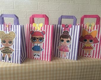 LOL surprise party bags, Lol surprise doll party favours, Lol doll party, Lol surprise doll bags, Lol surprise birthday,