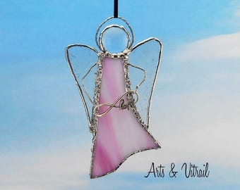 "Pink Angel Stained Glass Suncatcher - Carrier INFINITY LOVE or LOVE - 5 ""x 3"" (12 x 7 cm),  with decorative solder"