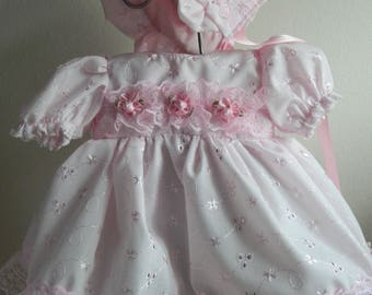 "Reborn  Baby dress and bonnet in  pink broderie anglais lace for 16"" reborn dolls clothes for 14-16"" doll clothes baby vintage doll"
