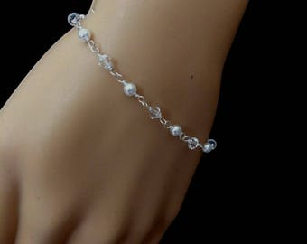 Swarovski bridal  bracelet Silver Crystal and pearl bracelet dainty wedding bracelet Swarovski wedding jewellery bridesmaid jewelry gift