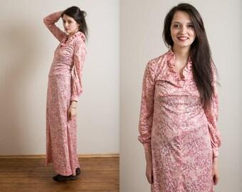 30% OFF Pink Prairie maxi dress / Hippie floral maxi dress / Pink evening gown / Empire waist long dress /