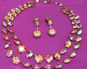 Antique aurora borealis art deco necklace, Demi parure set, prong set, open bezel, 2 rows matching earrings set