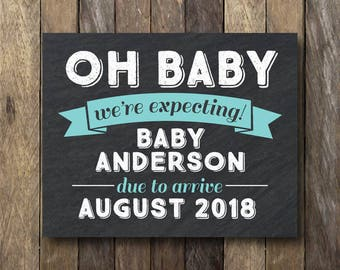 Pregnancy Announcement - We're Expecting Sign - Printable Pregnancy Announcement - Oh Baby Announcement - We're Expecting - Oh Baby Sign