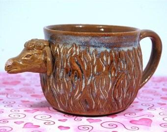 Handmade Sheep Ceramic Coffee Tea Mug, functional pottery, rustic pottery, earthy, non-toxic glaze - ready to ship