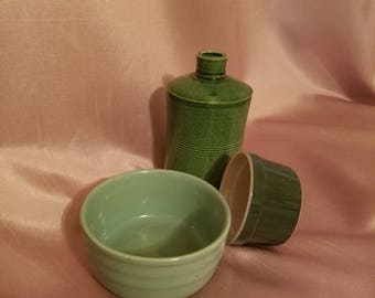 Collectible green pottery stoneware three pieces