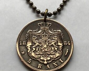 1884 Romania 5 Bani coin pendant Romanian LIONS Bucharest Brașov Sibiu crowned shield eagle Wallachia Bran Castle Moldovans necklace n001958