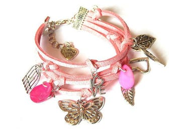 Pink suede and silver Butterfly charm bracelet DIY kit