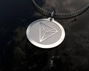 TRON - Original Design .925 Sterling Silver Tron Pendant & Chain| bitcoin, crypto, cryptocurrency, bitcoin jewelry