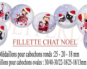 Images digitals cabochons jewelry * cat girl Christmas *.