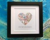 Framed Map with Map Coordinates - Customized - 5x5 Frame - Valentine's Day Gift- Map Heart - Engagement Gift - Choose A Map - Wedding Gift