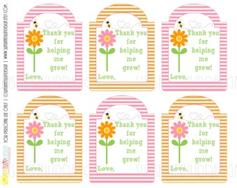 Printable Teacher Appreciation Gift Tags, Thank you for helping me Grow Gift Tags, Pink and Orange Stripe Gift Tags  by SUNSHINETULIPDESIGN